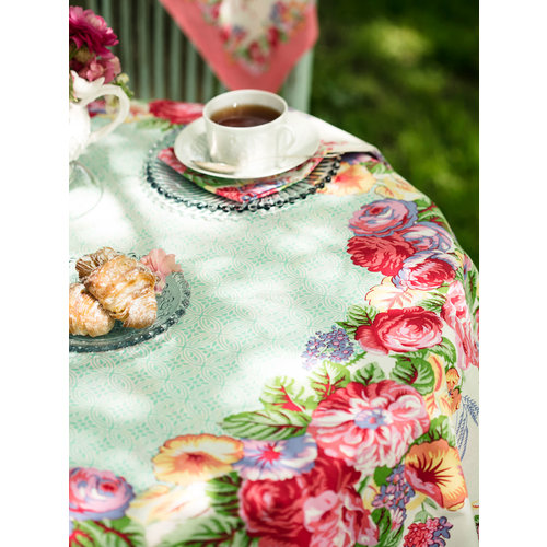 April Cornell Marion White/Multi Round Tablecloth