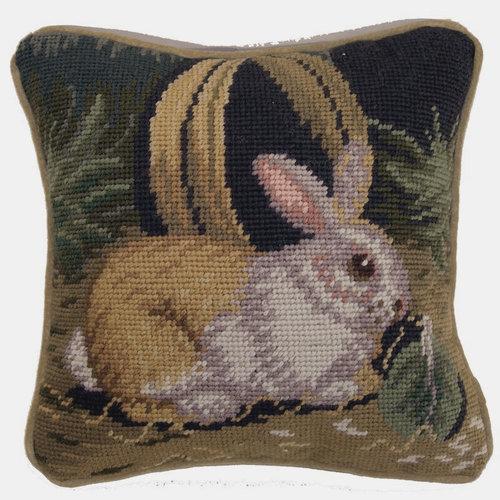 Needlepoint Rabbit 10x10 Pillow