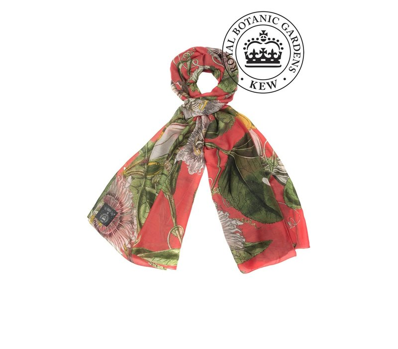 Kew One Hundred Stars Coral Passion Flower Scarf