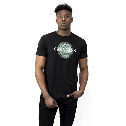 Guinness Guinness Black Tee with Green Celtic Label Print