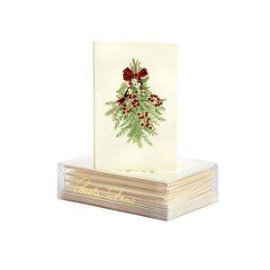 Paula Skene Holiday Greens Christmas Cards litho on ecru