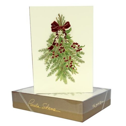 Paula Skene Holiday Greens Christmas Cards litho on ecru
