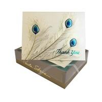 Paula Skene Peacock Trio Gold/Blue/Aqua on Champagne Boxed