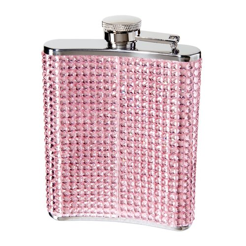Pink Stainless Steel Glitter Flask