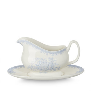 Asiatic Pheasants Blue Gravy Boat and Stand