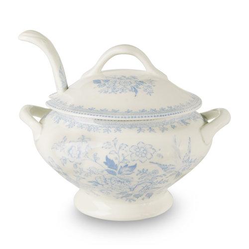Burleigh Pottery Asiatic Pheasants Blue Sauce Tureen & Ladle