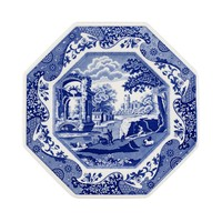 "Blue Italian Octagonal Plate 9.5"""