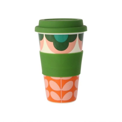 Orla Kiely Summer Flower Stem Pink/Green Travel Mug