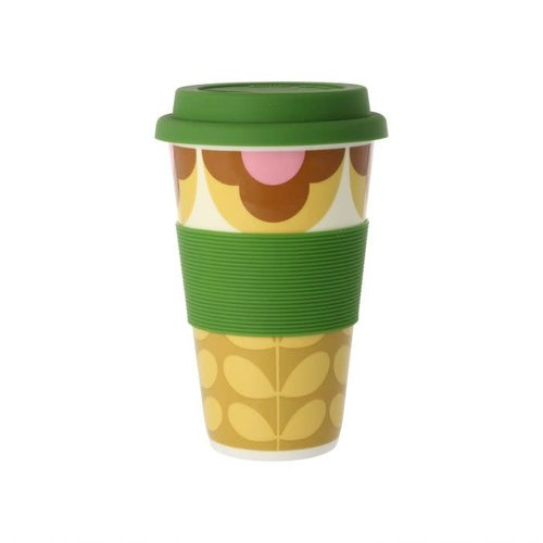 Orla Kiely Summer Flower Stem Pink/Yellow Travel Mug