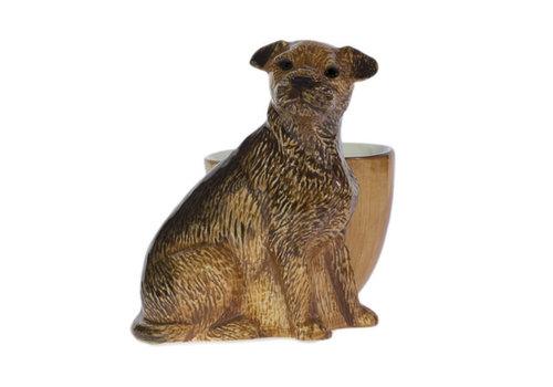 Quail Ceramics Quail Border Terrier with Egg Cup