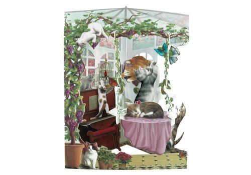 Santoro London Cats in Conservatory Swing Card