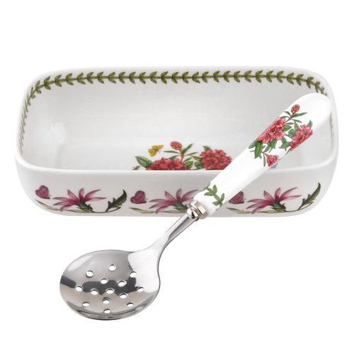 Portmeirion Botanic Garden Cranberry Dish with Spoon