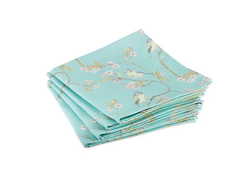 Mosney Mill Mosney Mill Turquoise Blue Tit and Blossom Napkins