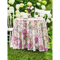 Spring Gathering Round Vintage Tablecloth