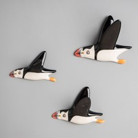 Set of 3 Flying Puffins