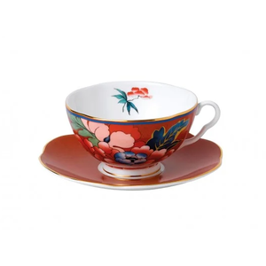 Wedgwood Paeonia Blush Teacup & Saucer Red
