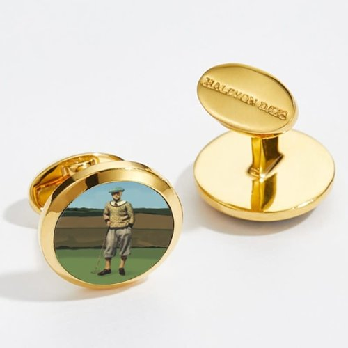 Halcyon Days Halcyon Days Golfer 1920's Round Gold Cufflinks