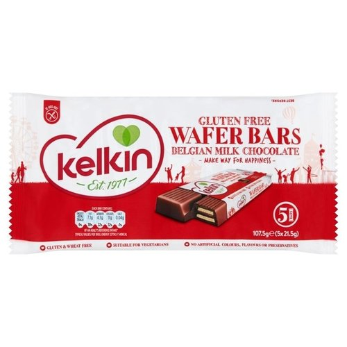 Kelkin Gluten Free Wafer Bars Belgian Milk Chocolate