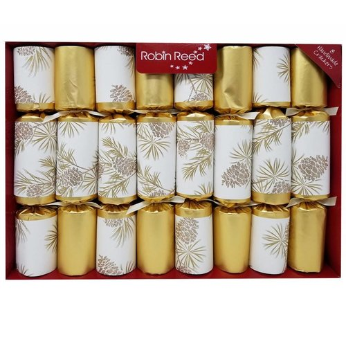 Robin Reed Gold Glitter Pine Cone Christmas Crackers