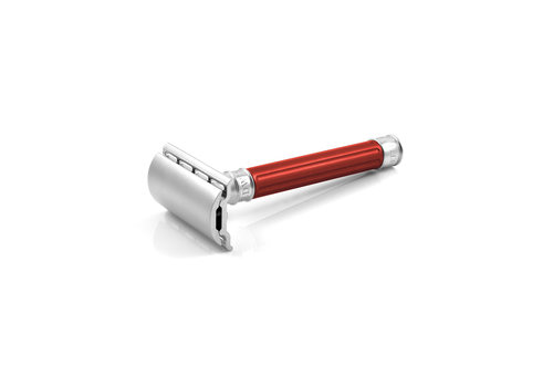 Edwin Jagger Double Edge Stainless Steel Safety Razor Grooved Red Handle