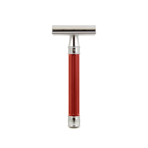 Edwin Jagger Edwin Jagger 3ONE6 Double Edge Stainless Steel Safety Razor Grooved Red Handle