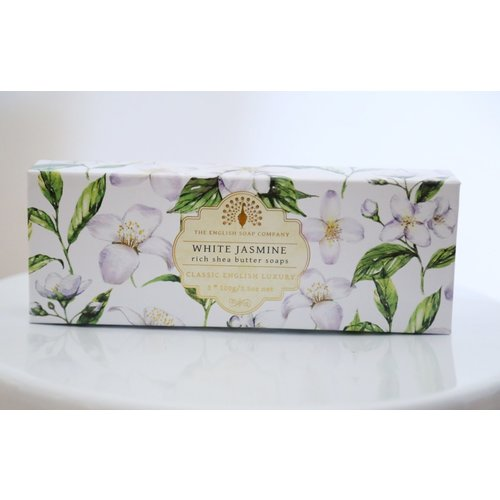 The English Soap Company white jasmine rich shea butter 100g soaps 3 pack