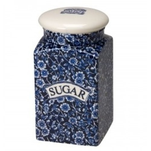 Burleigh Pottery Calico Blue Square Storage Jar - Sugar