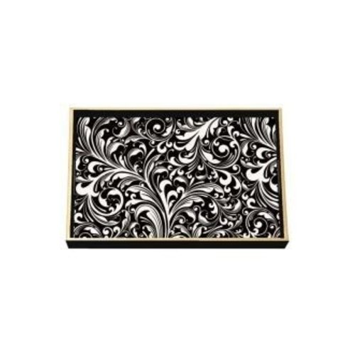 Michel Design Works Michel Black Florentine Vanity Decoupage Wooden Tray
