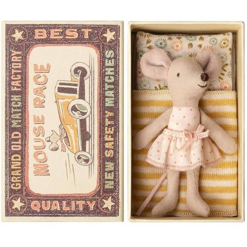 Maileg Maileg Little Sister Mouse in Box - Yellow Blanket