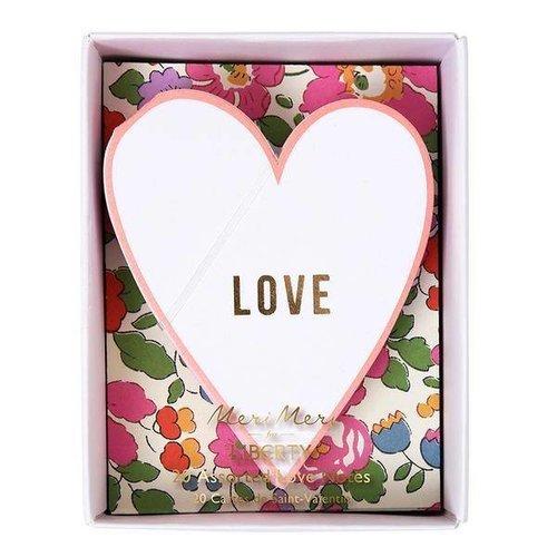 Meri Meri Meri Meri for Liberty 20 Assorted Love Notes