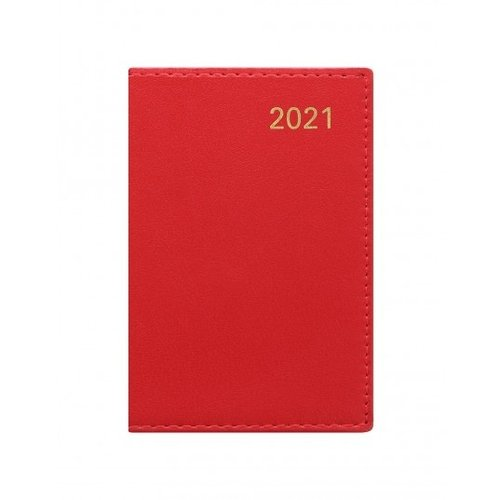 Letts of London Belgravia Mini Pocket Week to View Leather Diary with Planners 2021 Red