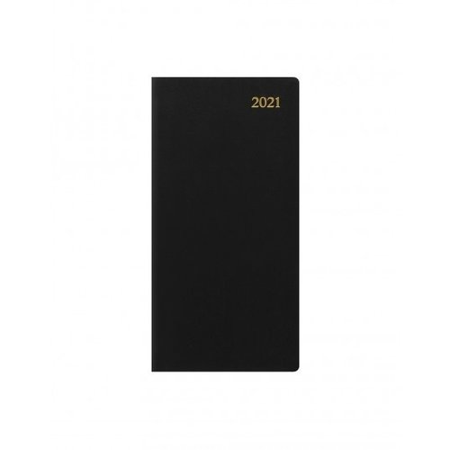 Letts of London Signature Slim Week to View Leather Diary with Planners 2021 Black