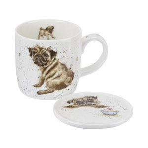 Wrendale Wrendale Pug Love Mug & Coaster Set
