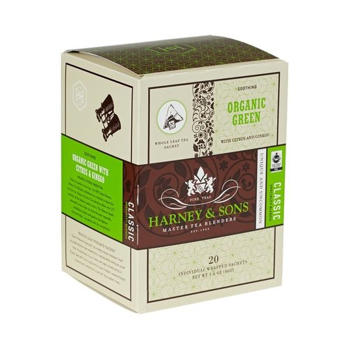 Harney & Sons Harney & Sons Organic Green Box of 20 Wrapped Sachets