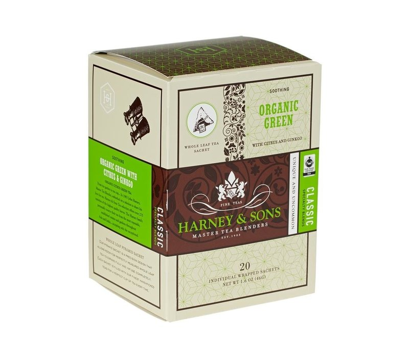 Harney & Sons Organic Green Box of 20 Wrapped Sachets