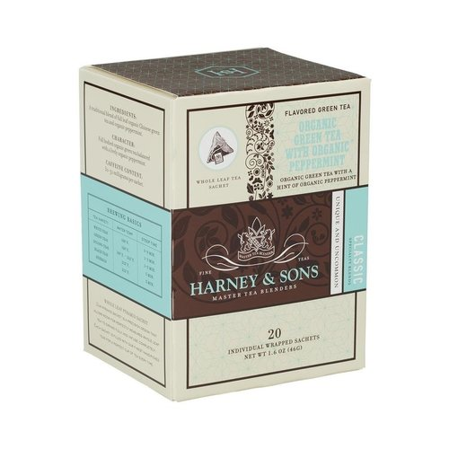 Harney & Sons Harney & Sons Organic Green Tea w/ Mint Box of 20 Wrapped Sachets