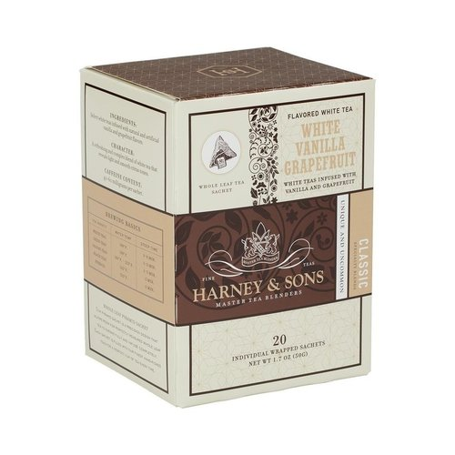 Harney & Sons Harney & Sons White Vanilla Grapefruit Box of 20 Wrapped Sachets