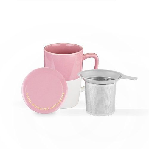 Pinky Up Delia Pink Ceramic Tea Mug & Infuser