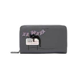 Vendula London Cats Medium Ziparound Wallet Grey