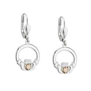 Solvar Silver & Gold Claddagh Heart Drop Earrings