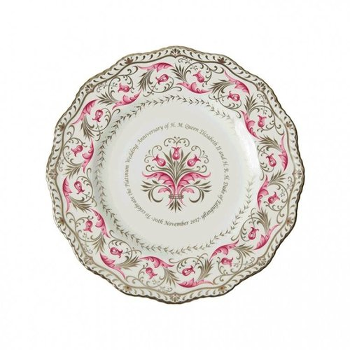 Royal Crown Derby Queen Platinum Wedding Anniversary Gadroon Plate LE