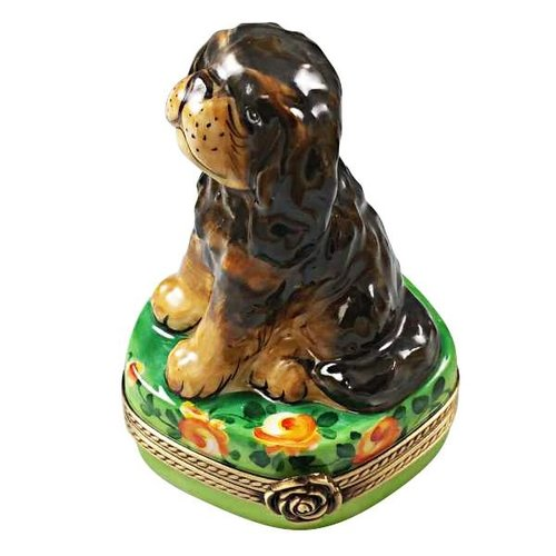 Limoges Limoges Black and Tan King Charles Spaniel Box