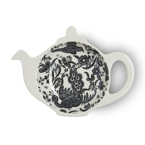 Burleigh Pottery Regal Peacock Black Mini Teapot Tray - Boxed