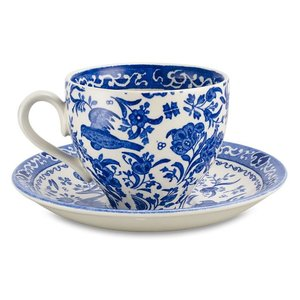 Burleigh Pottery Regal Peacock Blue Teacup & Saucer