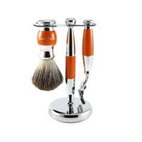 3pc Orange & Chrome Shaving Set (Mach 3)