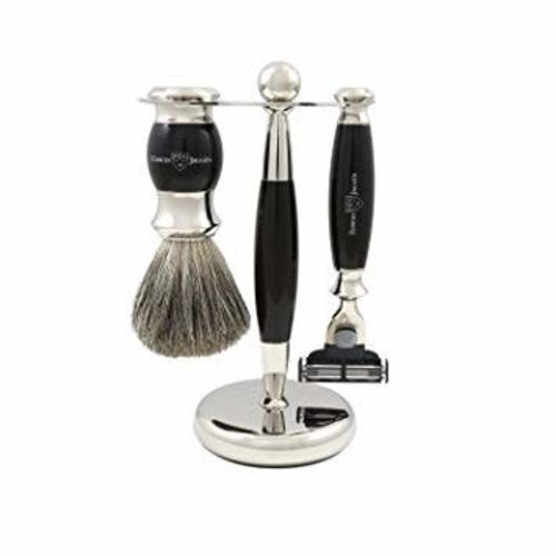 Edwin Jagger Edwin Jagger 3 piece Classic Shaving Accessories Mach 3 Razor, Pure Badger Shaving Brush  Imitation Ebony Pure Badger Chrome Plated Stand