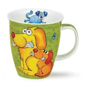 Dunoon Nevis Dogs & Puppies Mug - Green