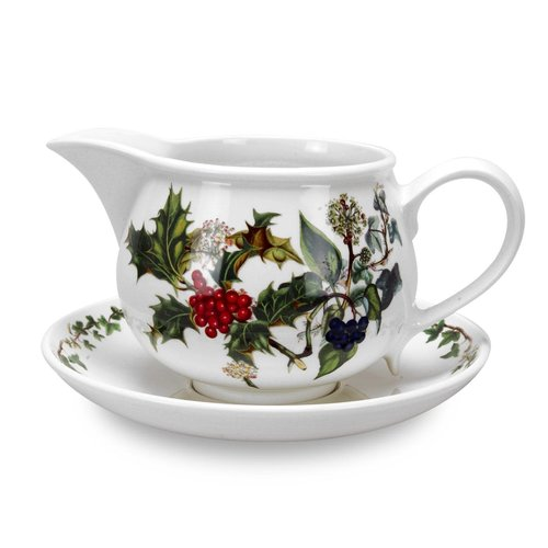 Portmeirion Holly & Ivy Gravy Boat with Stand