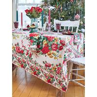 Christmas Cottage Rose Rectangular Tablecloth