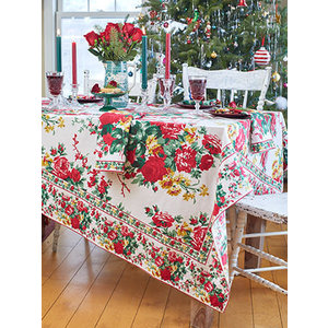 April Cornell Christmas Cottage Rose Rectangular Tablecloth
